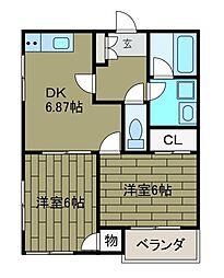 ヒルトン三浦[1階]の間取り