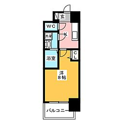 S−RESIDENCE四日市元町 13階1Kの間取り
