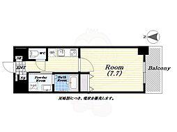 アーバンパーク梅田EAST 12階1Kの間取り