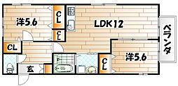 サザンハイツ A棟[2階]の間取り