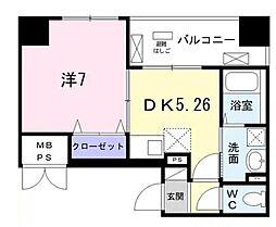 東京メトロ日比谷線 築地駅 徒歩8分の賃貸マンション 9階1DKの間取り