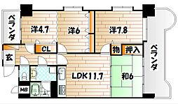 ライオンズマンション小倉駅南[11階]の間取り