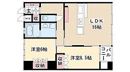 愛知県名古屋市昭和区小桜町2丁目の賃貸マンションの間取り