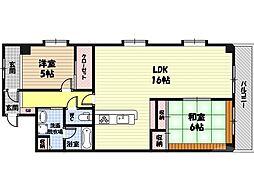 メゾン・ド・ヴィオレット 7階2LDKの間取り