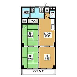 メルシーハイツ飯田A[2階]の間取り