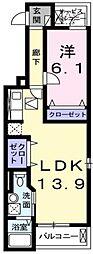 大阪府堺市北区新堀町2丁の賃貸アパートの間取り