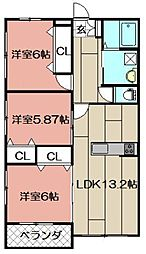 Blanc Bonheur Kokura[308号室]の間取り