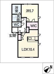 プリマノッツェ西尾壱番館 1階1LDKの間取り