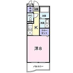 南海高野線 金剛駅 徒歩8分の賃貸マンション 3階1Kの間取り
