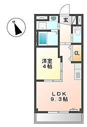 名鉄津島線 須ヶ口駅 徒歩33分の賃貸マンション 3階1LDKの間取り