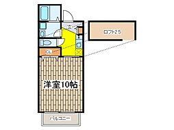 東京都府中市宮西町4丁目の賃貸アパートの間取り