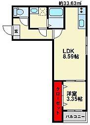 JR鹿児島本線 大野城駅 徒歩15分の賃貸アパート 1階1LDKの間取り