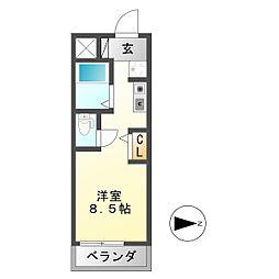 シャトー岐大 B[4階]の間取り