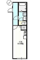 JR横浜線 町田駅 徒歩10分の賃貸アパート 3階ワンルームの間取り