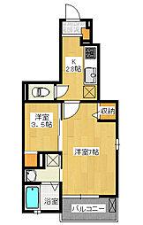 御幸本町 1K アパート[3階]の間取り