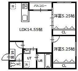Hermitage East 3階2LDKの間取り
