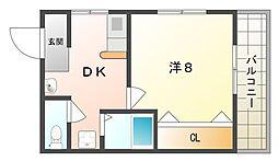 モントローズフタバ 3階1DKの間取り