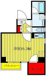 東武東上線 北池袋駅 徒歩7分の賃貸マンション 4階ワンルームの間取り