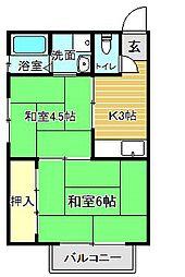 阪急千里線 吹田駅 徒歩7分の賃貸アパート 2階2Kの間取り
