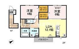 (仮)D-room赤磐高屋 2階2LDKの間取り