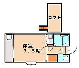 福岡県福岡市城南区片江2丁目の賃貸アパートの間取り