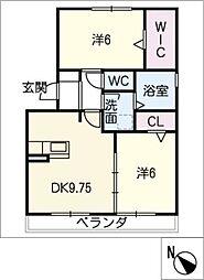 愛知県岡崎市六名本町の賃貸アパートの間取り