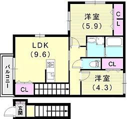阪急神戸本線 王子公園駅 徒歩15分の賃貸アパート 2階2LDKの間取り