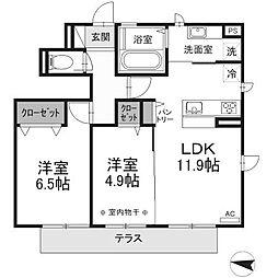 (仮)D-room東浅川[1階]の間取り