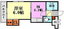 広島県広島市南区比治山本町の賃貸マンションの間取り