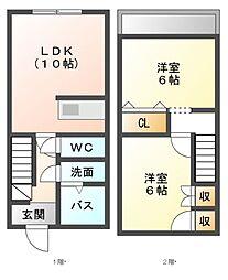メゾネットハウスMIRAI[1階]の間取り