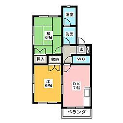 パストラル本庄B[1階]の間取り