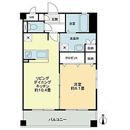 JR宇野線 大元駅 徒歩10分の賃貸マンション 3階1LDKの間取り