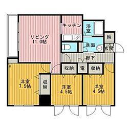 レーベン野幌[8階]の間取り