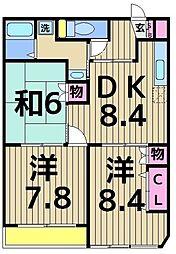 都民住宅 ヴィレッヂ東加平[103号室]の間取り