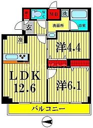 都営大江戸線 両国駅 徒歩4分の賃貸マンション 6階2LDKの間取り