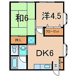 エステートピアHT 1階2DKの間取り