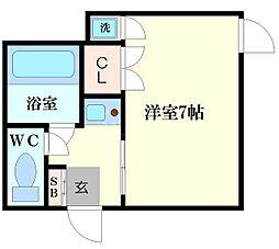 メロディハイツ恵美須[2階]の間取り