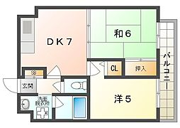 アティーナ守口 7階2DKの間取り