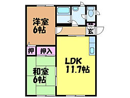 愛媛県松山市保免上2丁目の賃貸アパートの間取り