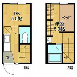 広島県広島市佐伯区海老園1丁目の賃貸アパートの間取り