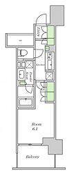 Osaka Metro四つ橋線 西梅田駅 徒歩3分の賃貸マンション 7階ワンルームの間取り