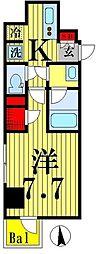 都営新宿線 菊川駅 徒歩9分の賃貸マンション 5階1Kの間取り
