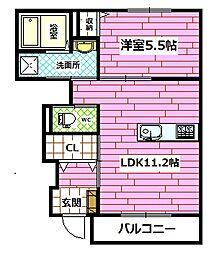 広島県広島市安佐南区上安6丁目の賃貸アパートの間取り