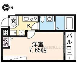 JR山陰本線 二条駅 徒歩16分の賃貸マンション 4階1Kの間取り