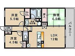 プレサンスロジェ上新庄 14階3LDKの間取り