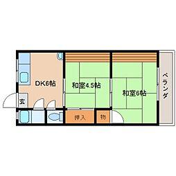 奈良県奈良市内侍原町の賃貸アパートの間取り