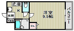 ハイツNANIWA[4階]の間取り