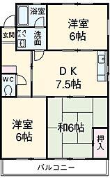 愛知県安城市浜屋町屋敷山の賃貸アパートの間取り