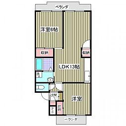 行田ハイツ1号棟[106号室]の間取り