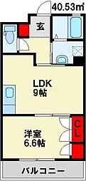 エスティメゾン小倉 3階1LDKの間取り
